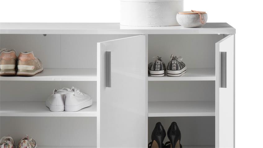 Schuhschrank 2 LINCOLN Schuhkommode in weiß Glanz