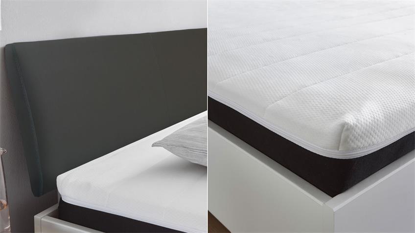 Boxbett LENA komplett weiß anthrazit inkl. Topper 140x200