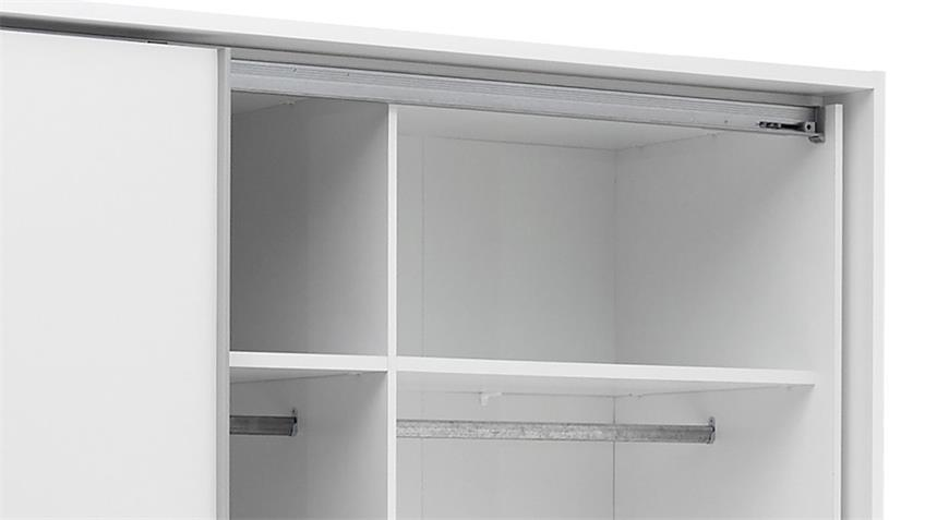Schwebetürenschrank BRISTOL 270 cm mit Spiegel weiß grau