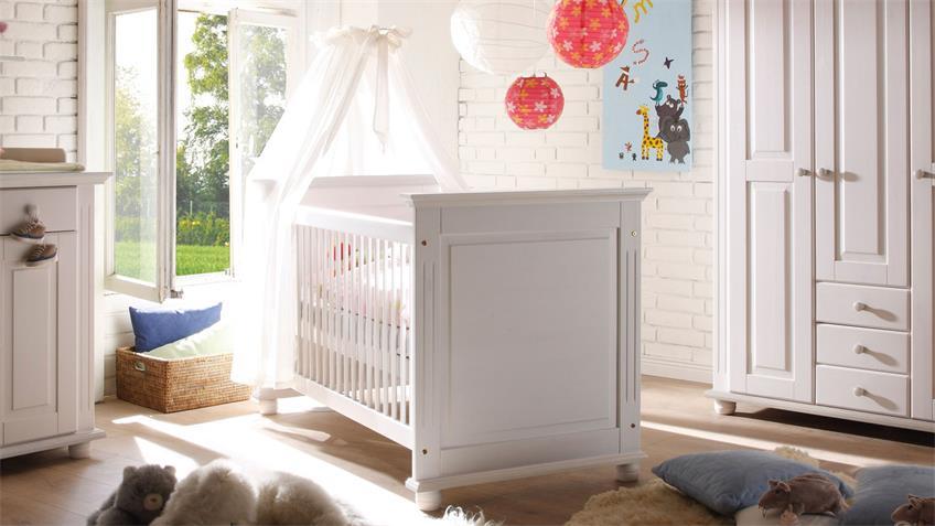 Babybett Laura Landhausstil weiß mit Juniorbett Umbauseiten