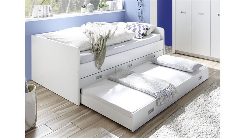 Tandemliege ALASKA Kojenbett weiß Jugendbett Kinderbett