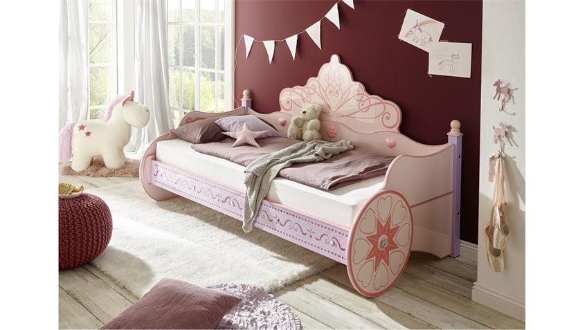 Kutsche Kinderbett Autobett rosa Princess lila lackiert 90x200