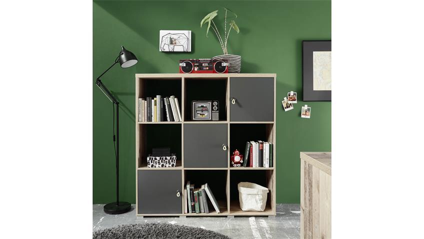 Regal Merlin Bücherregal Raumteiler Old Style anthrazit