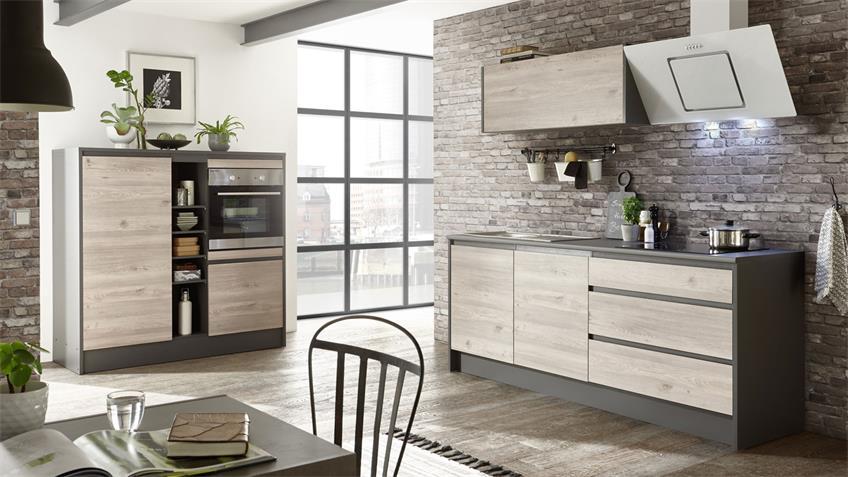 Küchenzeile LESSY Küchenblock Eiche anthrazit 210