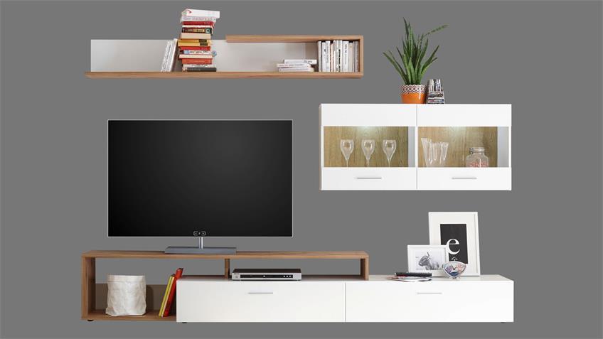 Wohnwand NEW VISION 3 weiß und Wildeiche inkl. LED
