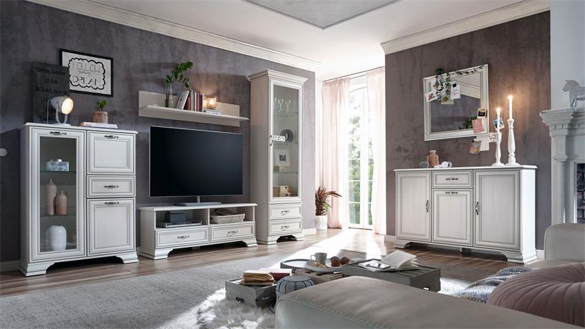 TV-Board VENEDIG weiß used look mit Patina Landhausstil