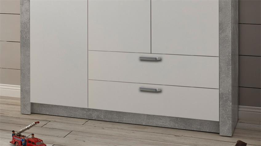 Kleiderschrank TIMO Drehtürenschrank Beton und weiß 137 cm