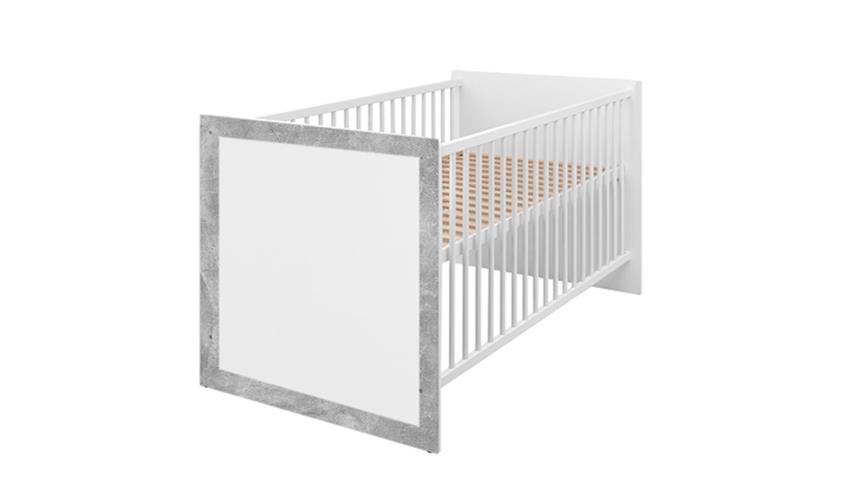 Babybett TIMO Kinderbett Bett Beton und weiß 70x140 cm