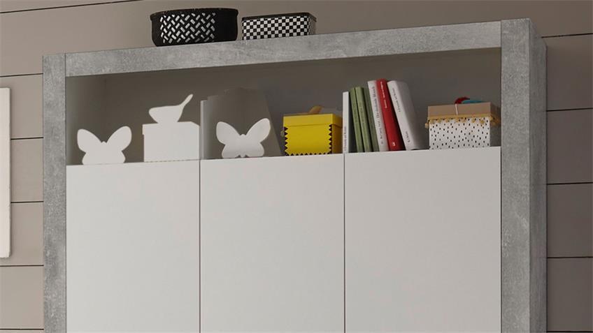 Babyzimmer TIMO Kinderzimmer Set Beton und weiß 3-teilig
