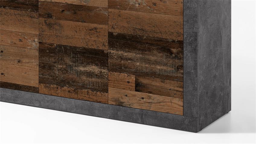 Kommode 2 INDIANA Anrichte Beton grau old wood vintage