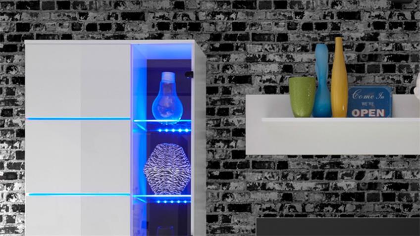 Wohnwand 3 Millo Anbauwand Front weiß Glanz Vitrinen mit LED