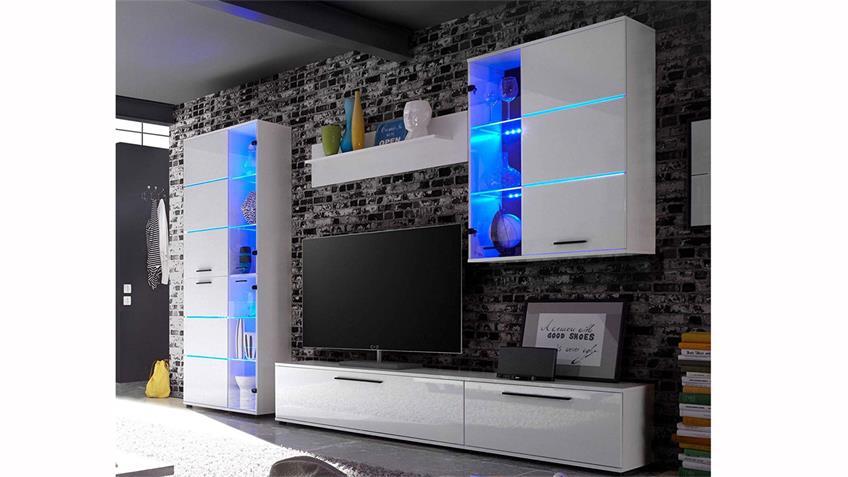 Wohnwand 3 MILLO Anbauwand weiß Glanz Standvitrine LED