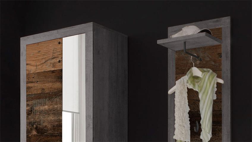 Garderobe INDIANA 5-teilig Beton grau und old wood vintage