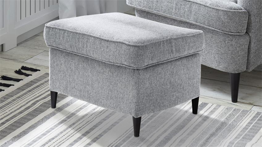 Hocker OMADO Sitzhocker Fußablage Stoff grau Massivholz