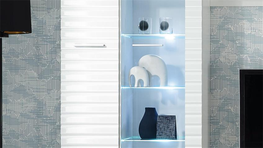 Anbauwand Wohnwand New Long weiß Hochglanz mit LED