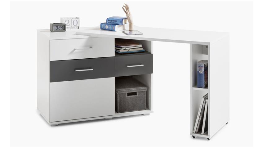 Winkelschreibtisch Madrid Eckschreibtisch weiß grau rollbar