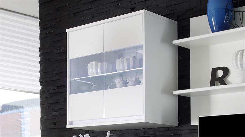 Hängeschrank Ikaras Hängevitrine weiß 2-türig Glasböden