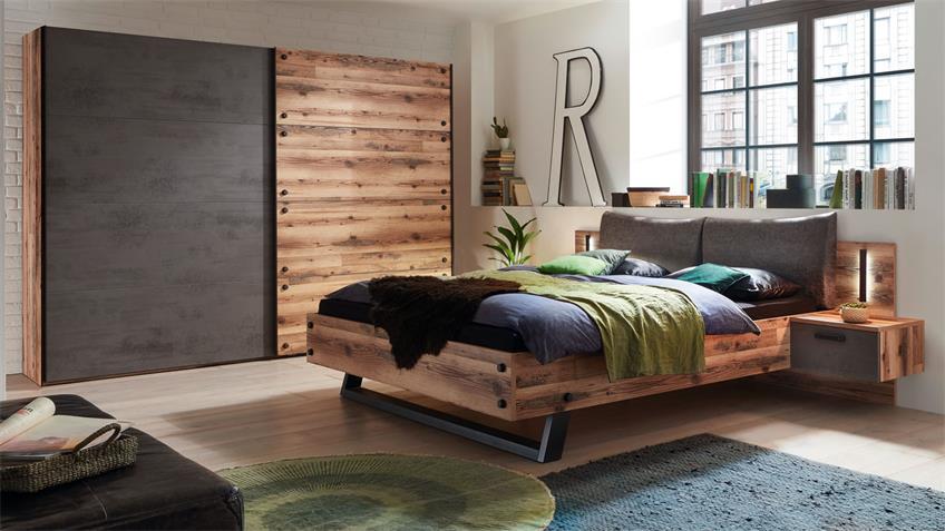 Schlafzimmerset DOVER Alpine Lodge Betonoxid LED 2-teilig