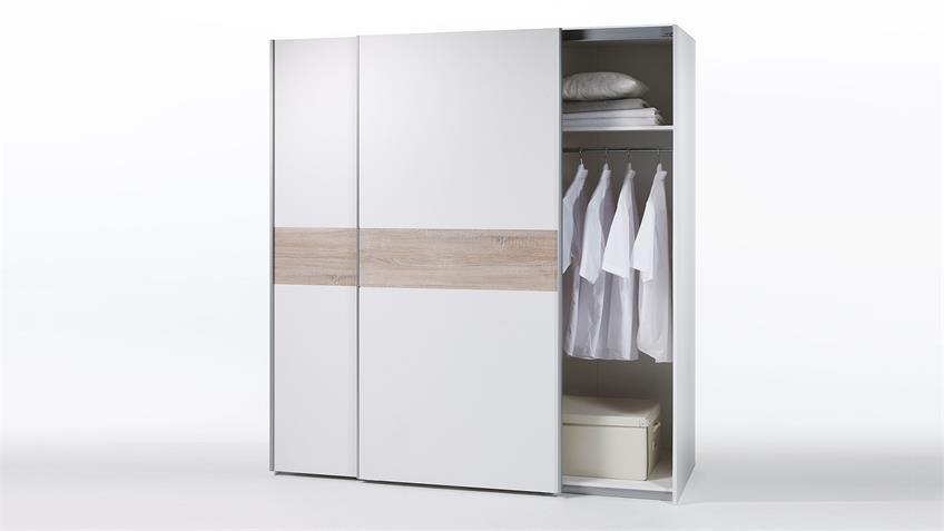 Kleiderschrank PULS 2-trg. weiß Bauchbinde Sonoma Eiche
