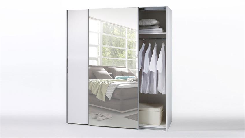 Schwebetürenschrank PULS 2 weiß Spiegel Kleiderschrank