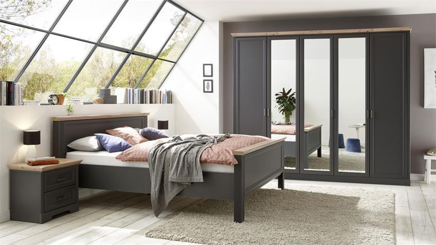 Schlafzimmer Set JASMIN graphit Artisan Eiche Landhausstil