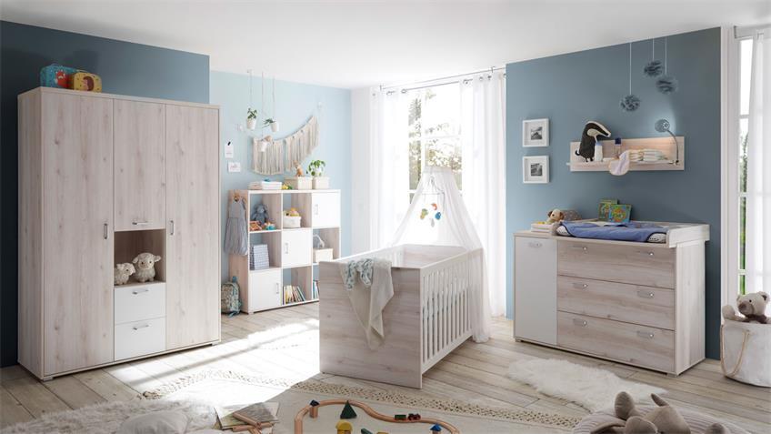 Kommode CUBY Aurum weiß mit Wickelaufsatz Babyzimmer