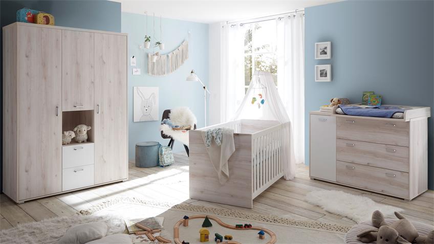 Babyzimmer CUBY Aurum weiß Babyzimmer Schrank 3-trg