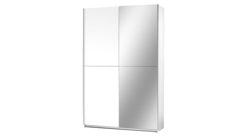 Schwebetürenschrank FAST weiß mit Spiegel Garderobe