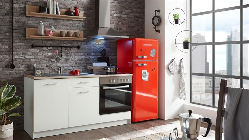 Küchenzeile WOW 2 weiß matt Sonoma Eiche Küchenblock
