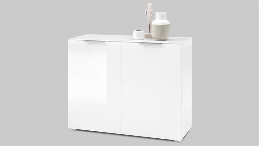 Kommode MARSEILLE 1 Opti-White Glasfront weiß lackiert