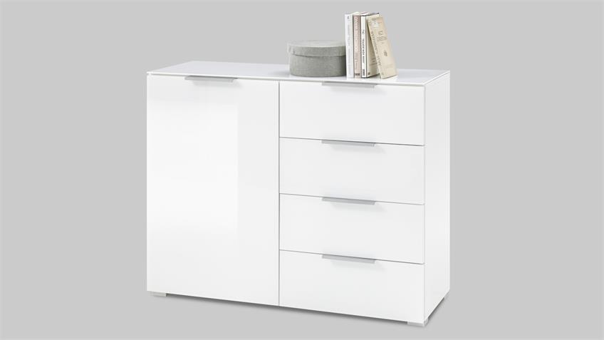 Kommode MARSEILLE 2 weiß lackiert Opti-White Glasfront