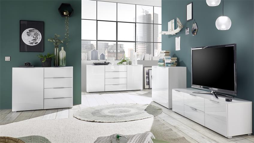 Sideboard MARSEILLE weiß lackiert Opti-White Glasfront