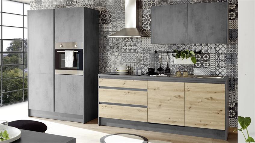 Küchenzeile TROJA Küche Chromix Anthrazit Artisan Eiche