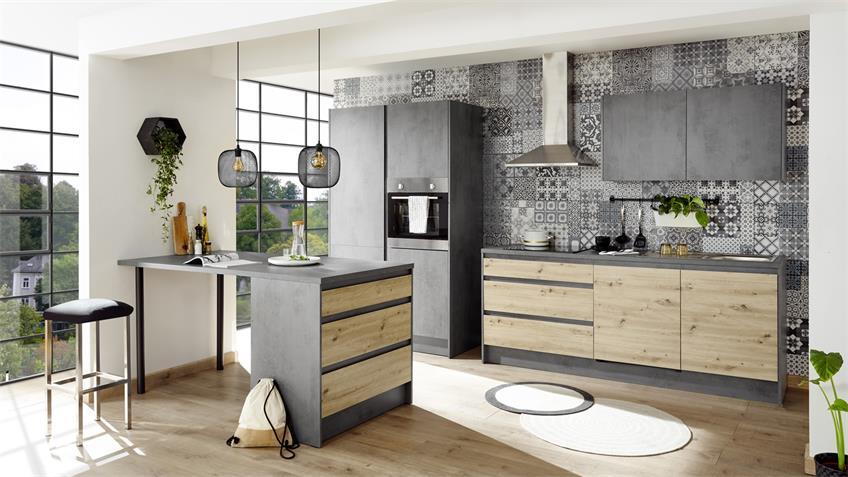 Küchenzeile TROJA Chromix Anthrazit Artisan Eiche E-Geräte
