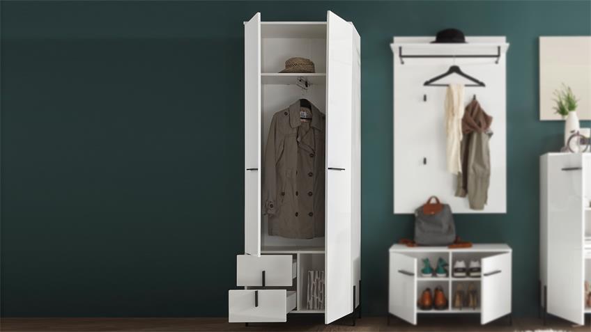 Garderobenschrank NYON weiß Hochglanz Metall schwarz