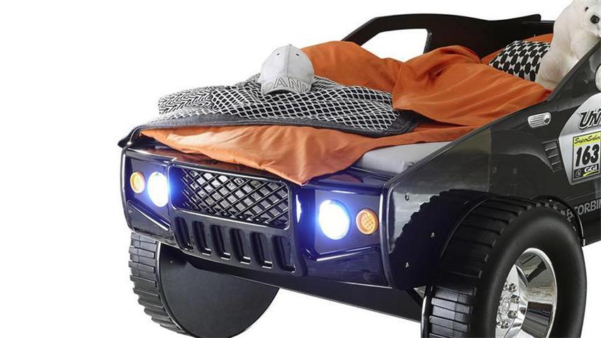 Autobett SUV mit LED Kinderbett Abenteuerbett schwarz 90x200