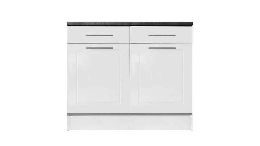 Unterschrank VALENZIA 2 weiß Hochglanz Küche 100 cm