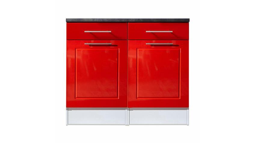 Unterschrank VALENZIA 2 Küche Hochglanz rot 100 cm