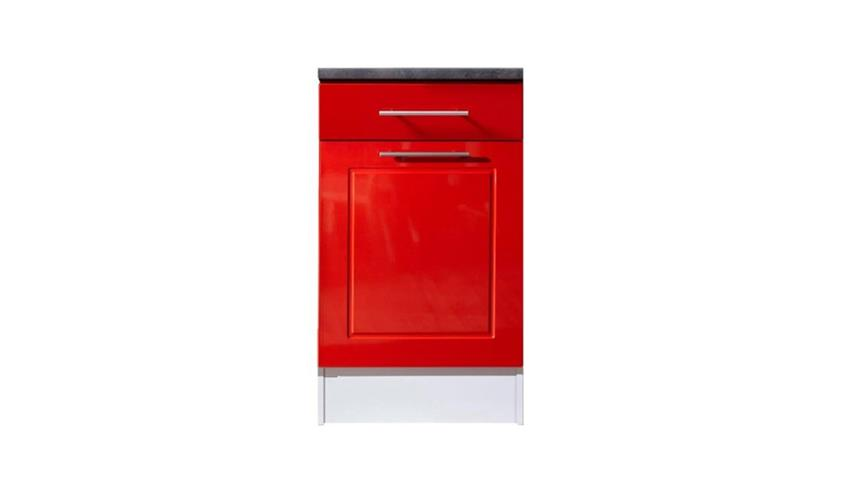 Unterschrank VALENZIA 2 rot Hochglanz Küche 50 cm