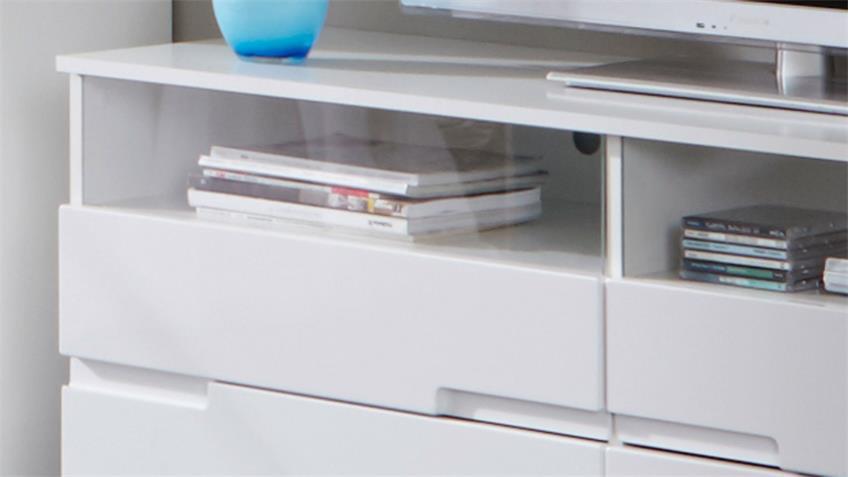 TV-Board SPICE Lowboard Hochglanz weiß 140 cm