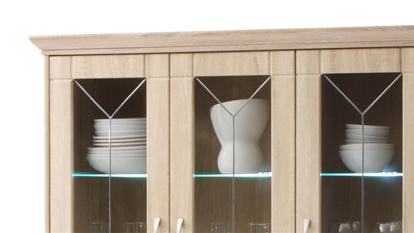 Vitrine VILLAGE Glasvitrine Sonoma Eiche 125 cm