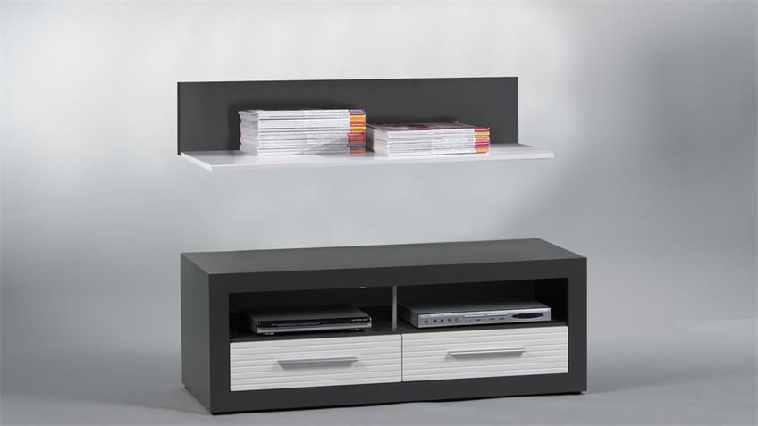 Lowboard KOLIBRI MDF Hochglanz weiß grau 120 cm