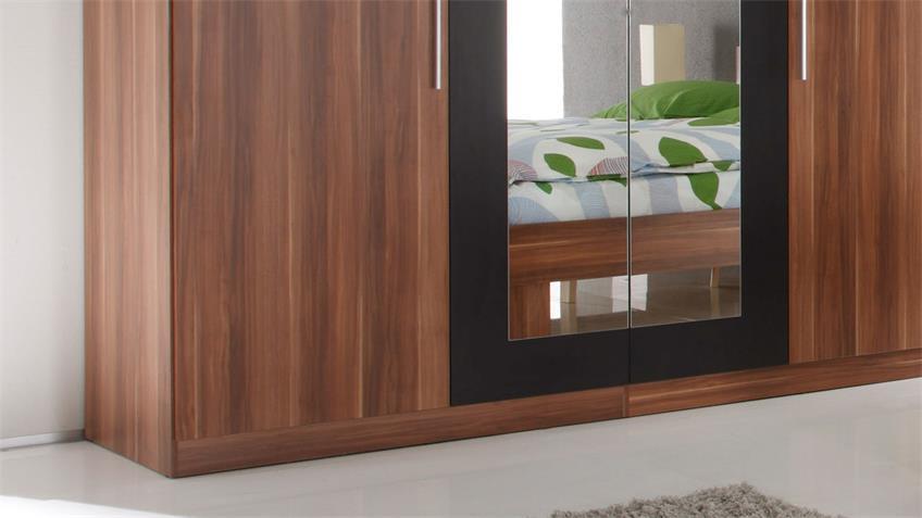 Kleiderschrank MARTINA 228 cm Walnuss schwarz inkl. Spiegel