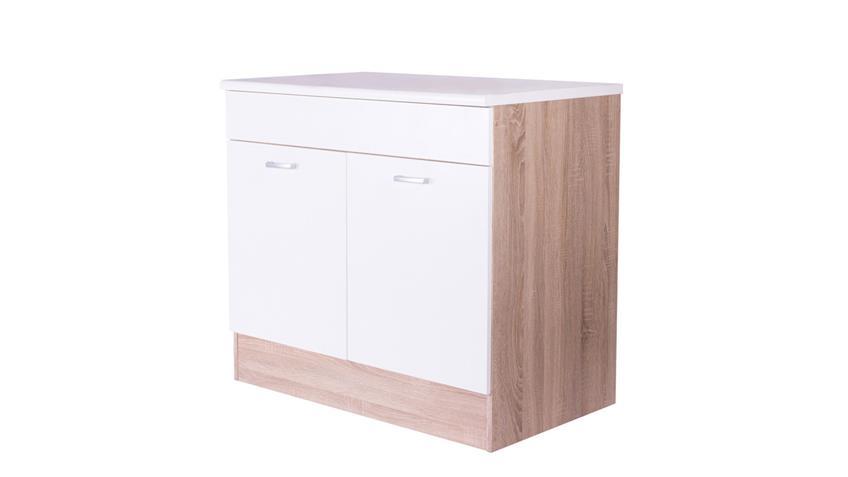 Küchenzeile Küche MAX 4-tlg. weiß Korpus Eiche 210 cm