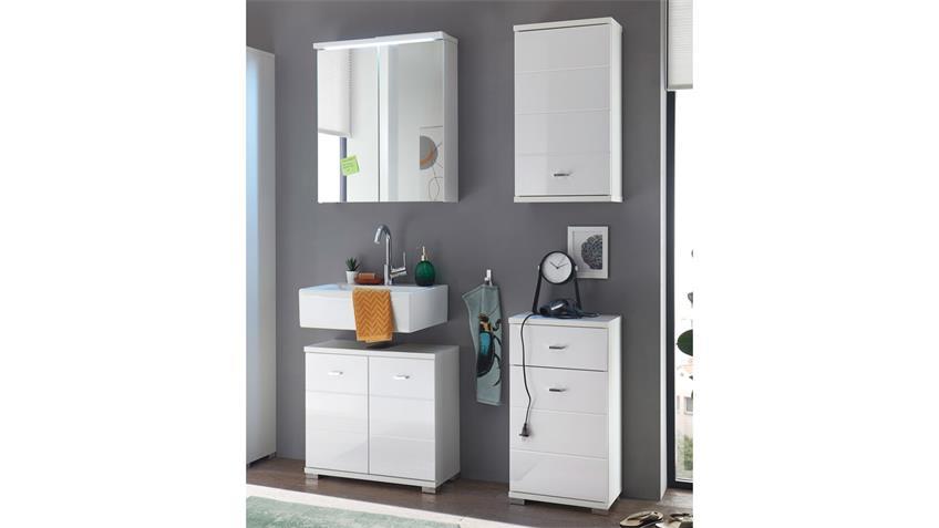Badezimmer POOL 4-tlg MDF weiß Hochglanz tiefzieh mit LED