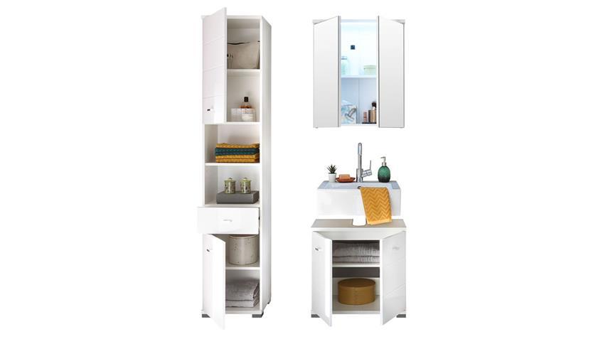 Badezimmer POOL 3-tlg MDF weiß Hochglanz tiefzieh mit LED