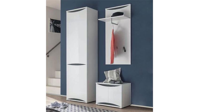 Garderobe VITO VASO Set 3-teilig weiß Hochglanz und grau