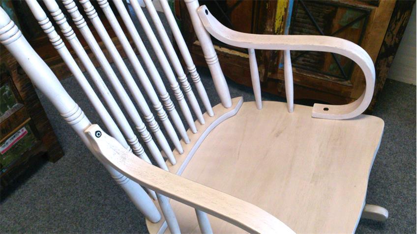 schaukelstuhl antik wei vollholz wippstuhl vintage design. Black Bedroom Furniture Sets. Home Design Ideas