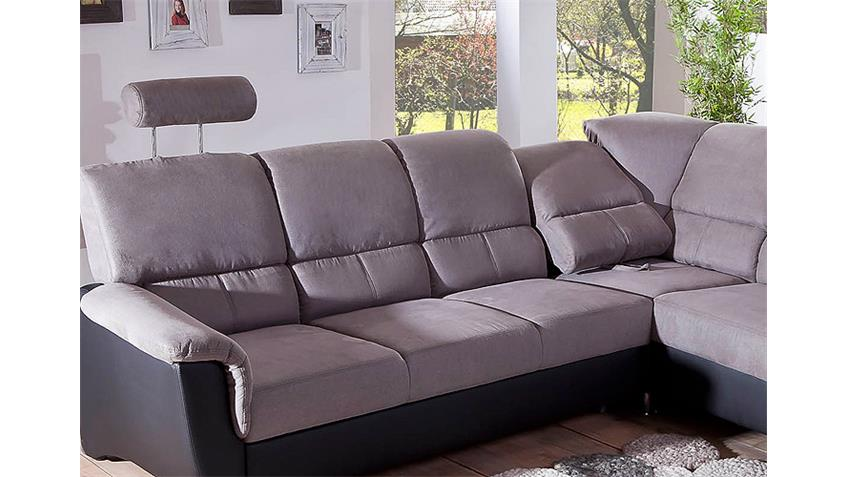 Ecksofa PISA Sofa grau schwarz mit Bettfunktion