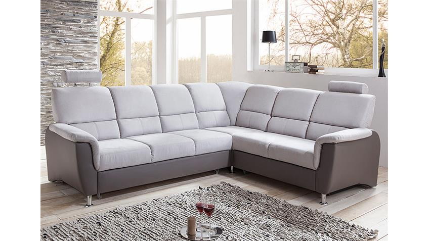 ecksofa pisa in hellgrau und dunkelgrau inkl bettfunktion. Black Bedroom Furniture Sets. Home Design Ideas
